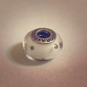 Pandora Murano Glass White Polka Dot Retired Charm
